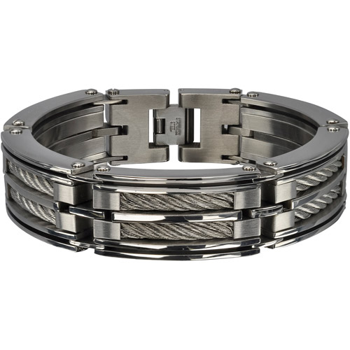 Steel Art Men's Stainless Steel Two Big Polish Finished Chunky Cable Bracelet, 8-3/4