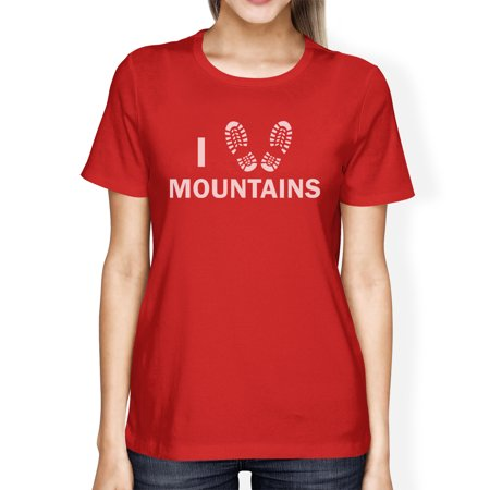 I Heart Mountains Womens Red Crew Neck T Shirt Gift Ideas For Dads