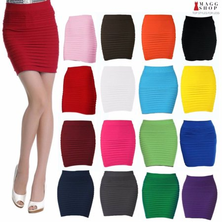 39e0838912d209 Anna - Anna Women's Sexy Slip-On Pleated Stretch Pencil Mini Skirt -  Walmart.com