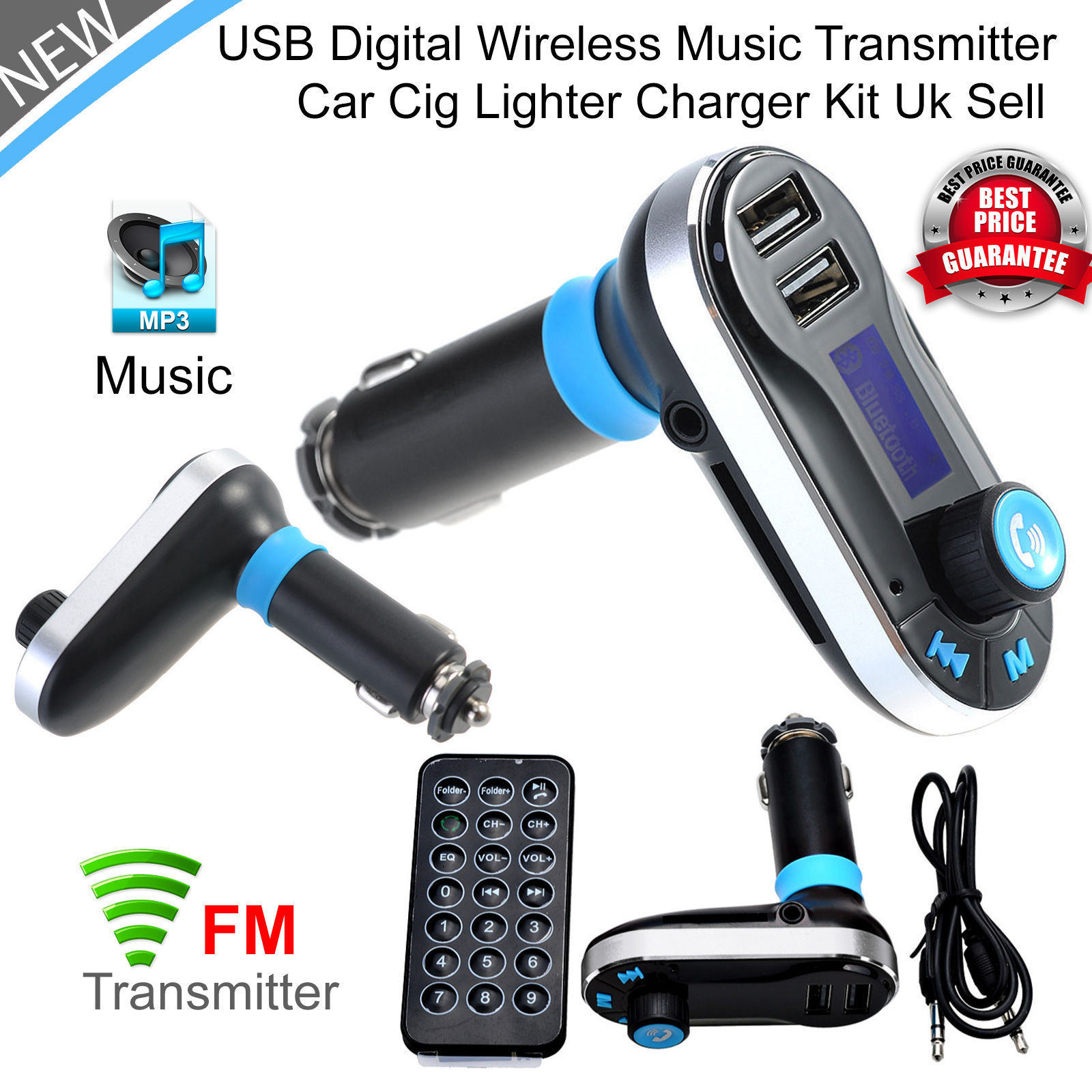 Tagital Wireless In Car Bluetooth Fm Transmitter Radio Adapter Easy Tracking Mp3 Player Handsfree Kit