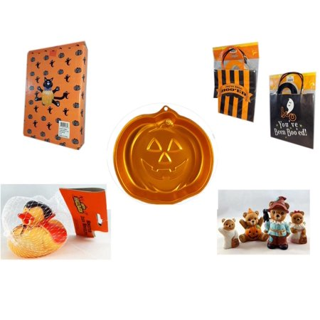Halloween Fun Gift Bundle [5 Piece] -  Cat Pumpkin Push In 5 Piece Head Arms Legs -