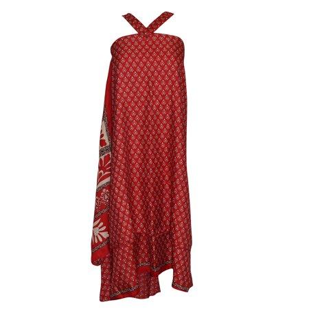 Mogul Magic Wrap Skirt Red Floral Print Premium Silk Sari Two Layer Reversible Beach Dress