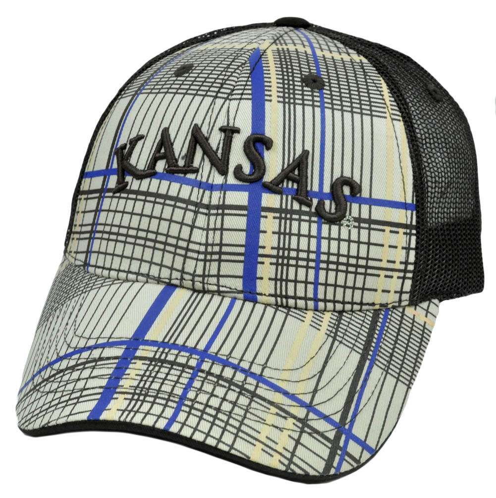 NCAA Kansas Jayhawks Top of The World Mesh Striped Hat Cap Curved Bill Construct
