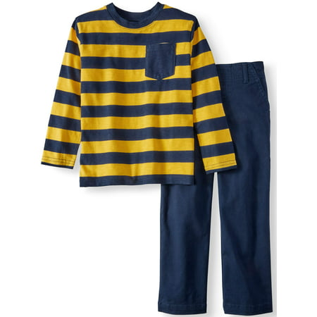 Long Sleeve Striped Pocket T-Shirt & Woven Pants, 2pc Outfit Set (Little Boys & Big Boys)
