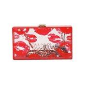 Red Lips Kiss Me Print Detachable Chain Strap Box Clutch