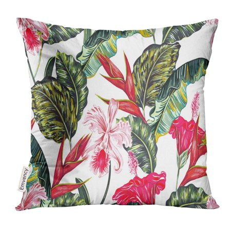 STOAG Floral Tropical with Exotic Flowers Palm Leaves Jungle Leaf Hibiscus Orchid Bird of Paradise Botanical Throw Pillowcase Cushion Case Cover 16x16 inch Bird Of Paradise Leaves