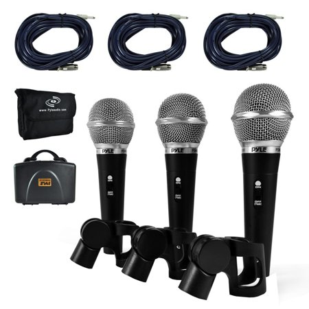Dynamic Microphone Kit, (3) Professional Handheld Mics (Includes XLR Audio Cables)