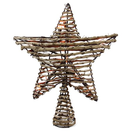 """11.5"""" Natural Brown Rattan Star Christmas Tree Topper - Clear Lights"""