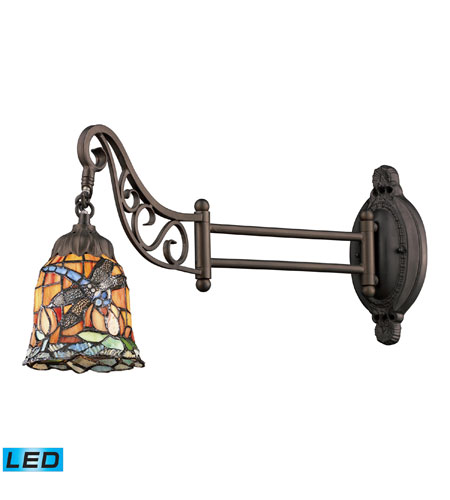 Wall Sconces 1 Light LED With Tiffany Bronze Finish 12 Glass 24 inch 13.5 Watts - World of Lamp