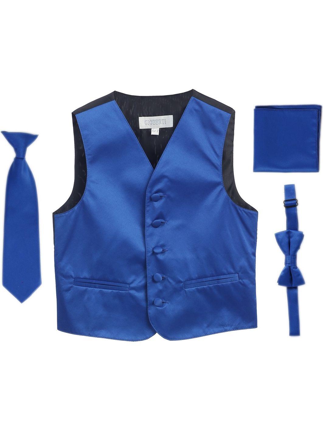 Royal Blue Vest Necktie Bowtie Pocket Square Boys Set 8-14