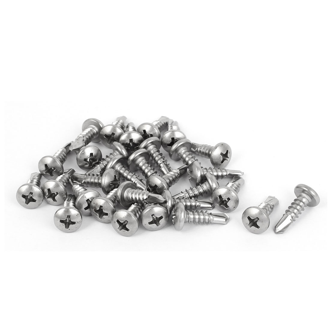 Uxcell M4.8x16mm #10 Male Thread Pan Head Self Tapping Drilling Screws (30-pack)