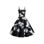 Womens Floral Strappy Skater Dress Rockabilly Holiday Party Retro Swing