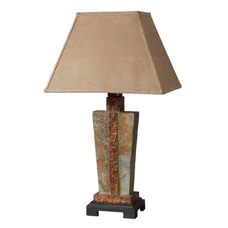 Uttermost 26322-1 Hand Carved Slate With Hammered Copper Details Slate Accent Lamp Hammered Copper Oil Lamp