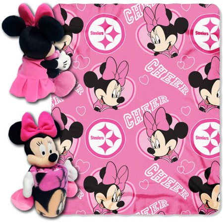 Minnie Throw And Pillow Set : Minnie Mouse Cheerleader Pittsburgh Steelers NFL Throw and Hugger Pillow Set - Walmart.com
