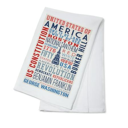 Boston, Massachusetts - Americana - Typography - Lantern Press Artwork (100% Cotton Kitchen Towel)