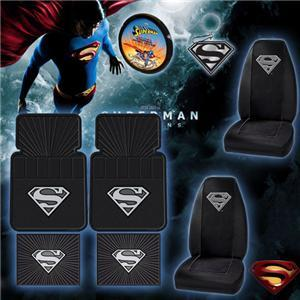 8pc Superman Car Floor Mat Seat Covers Set Shipping Included by Yupbizauto