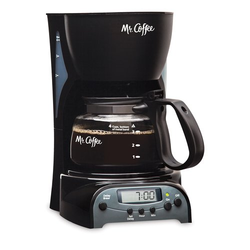 Mr. Coffee Simple Brew 4-Cup Programmable Coffee Maker, Black, DRX5-NP