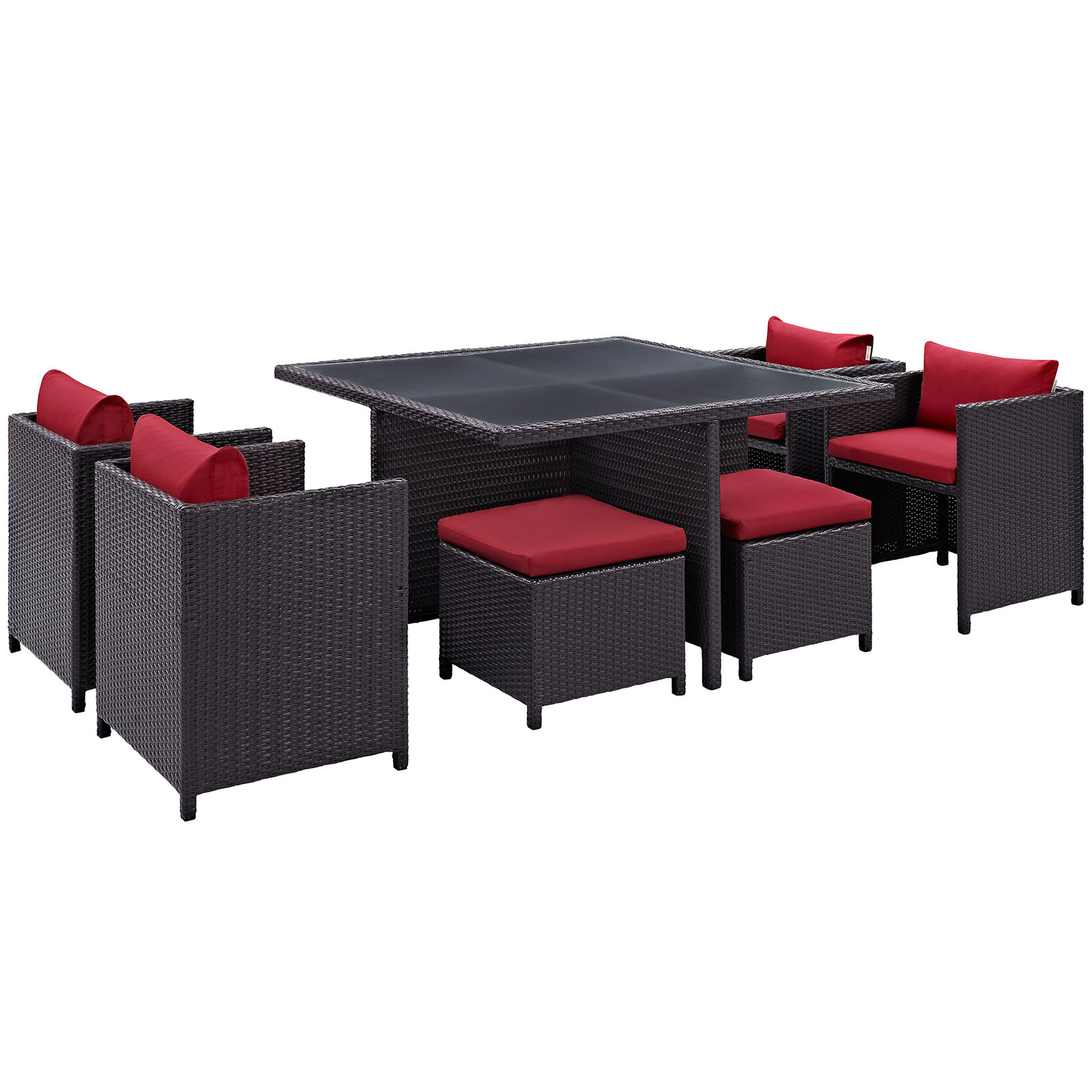 Modern Contemporary 9 Pcs Outdoor Patio Dining Room Set, Red Plastic by