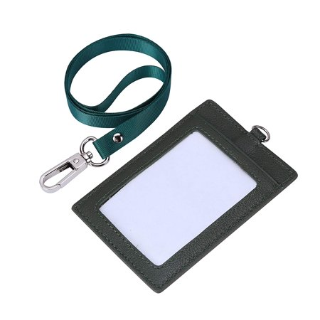 Genuine Leather 2-Sided ID Badge Holder with Lanyard, Card Holder Wallet (Green)