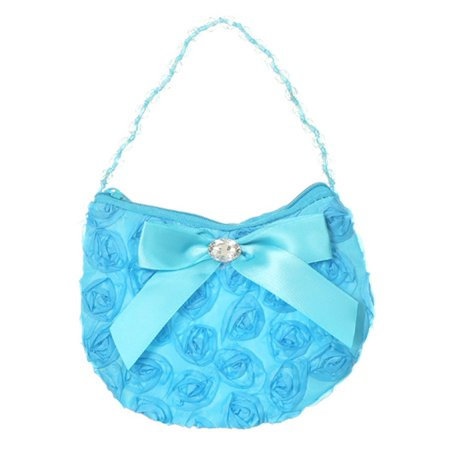 Girls Turquoise Rosette Rhinestone Beaded Handle Ribbon Bow Accent Bag Purse