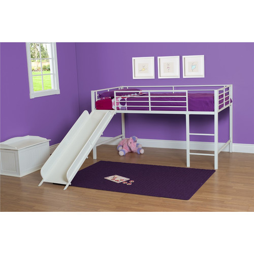 Boy Twin Loft Bed with Slide, Grey and Blue (COMPONENT)