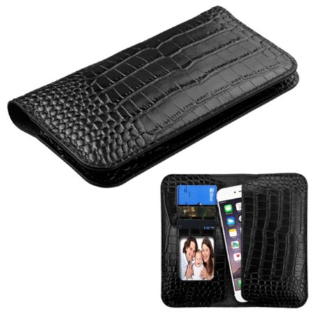 Insten Genuine Leather Wallet Case Crocodile Embossed With Id Credit Card   Phone Slot Universal  Size  6 3 X 3 2 Inch  Black For Iphone 7 6 6S Plus Se 5S Samsung Galaxy S7 Note 5 Grand Prime Lg V20