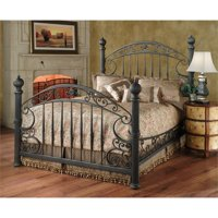 Hillsdale Chesapeake Queen Metal Poster Spindle Bed in Rustic Brown