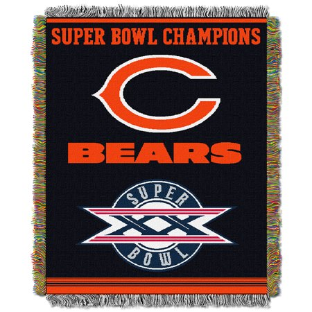 Chicago Bears NFL Super Bowl Commemorative Woven Tapestry Throw (48