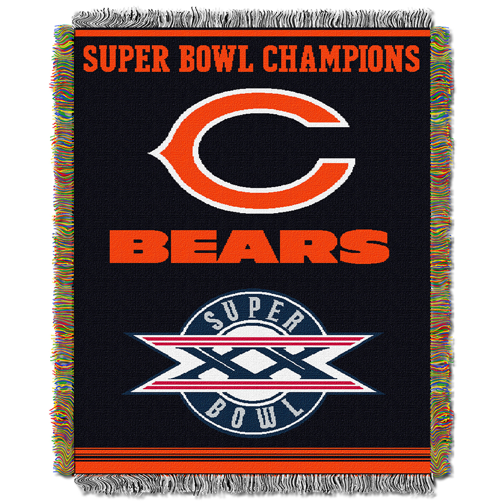 "Chicago Bears NFL Super Bowl Commemorative Woven Tapestry Throw (48""x60"")"