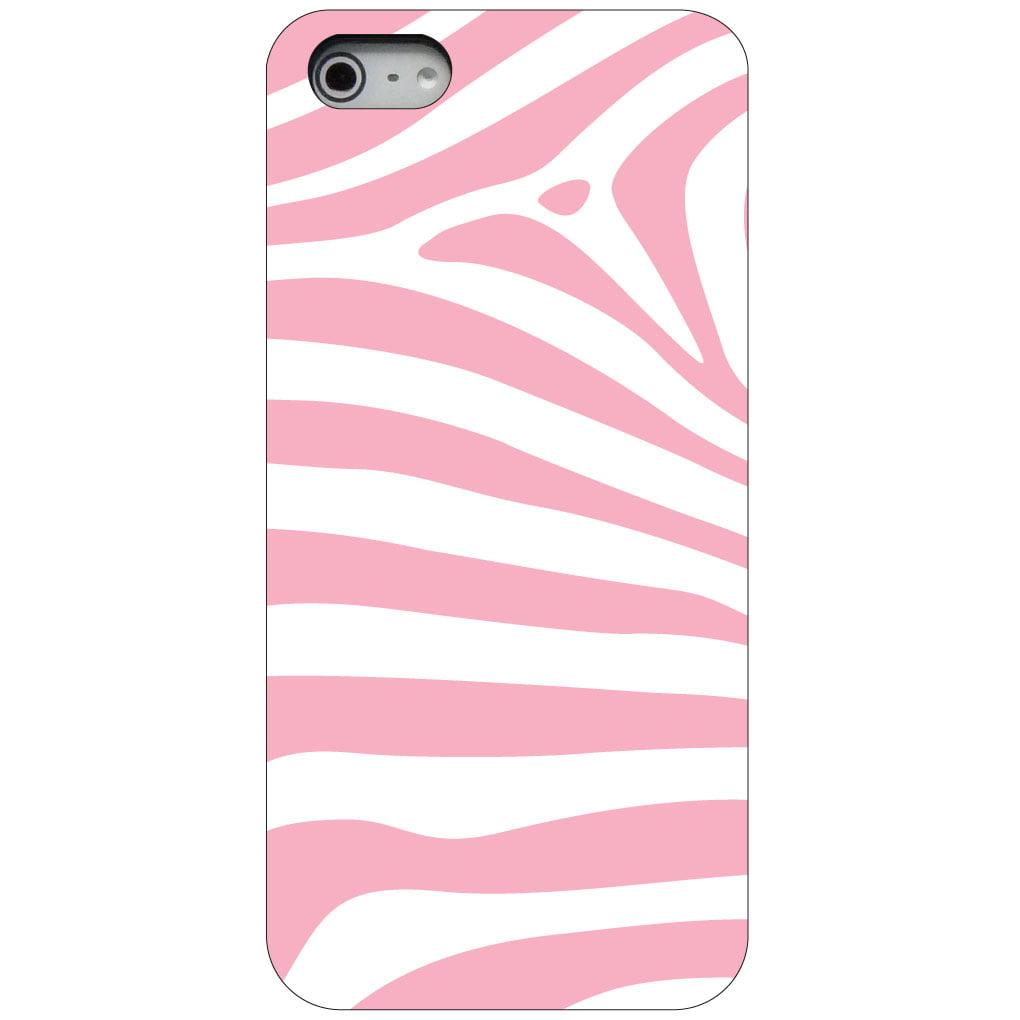 CUSTOM Black Hard Plastic Snap-On Case for Apple iPhone 5 / 5S / SE - Pink & White Zebra Skin Stripes