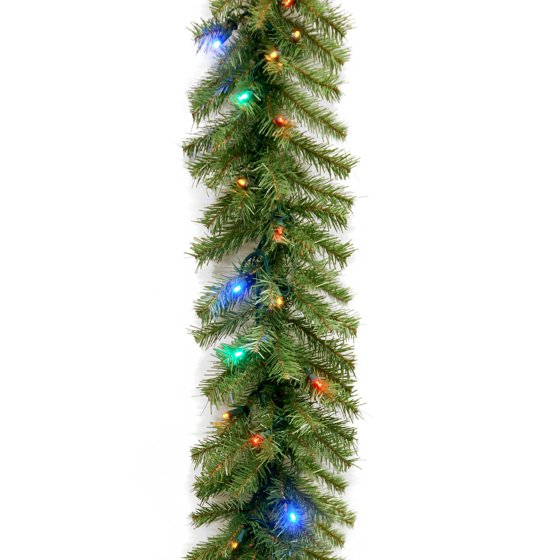 """National Tree 9' X 10"""" Norwood Fir Garland With 50 Battery"""
