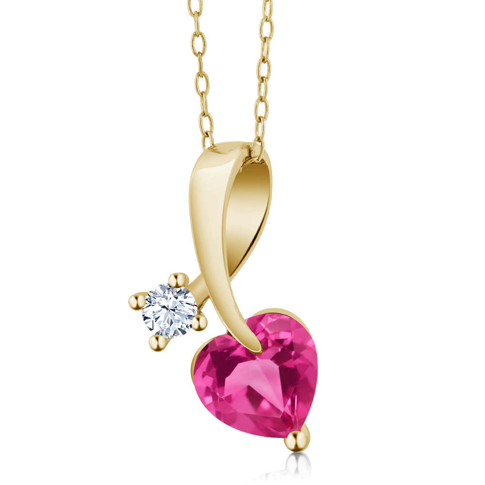 1.41 Ct Heart Shape Pink Mystic Topaz 18K Yellow Gold Pendant