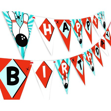 Bowling Happy Birthday Banner Pennant - Bowling Party Supplies - Bowling Party Decorations - Classic 2
