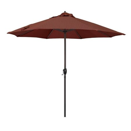 Magnolia Garden 9' Auto-Tilt Crank Lift Dark Bronze Umbrella with Olefin Fabric - Terrace Adobe