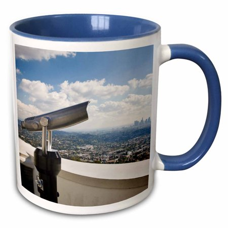 3dRose CA, Los Angeles, Griffith Park Observatory - US05 WBI0556 - Walter Bibikow - Two Tone Blue Mug, - Halloween Theme Parks Los Angeles