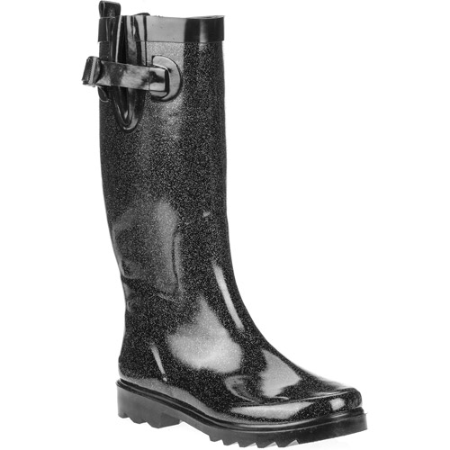 Women's Shiny Solid Metallic Glitter Rainboots