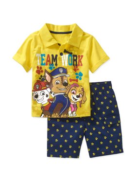 Toddler Boy Graphic Polo Tee and Shorts Outfit Set