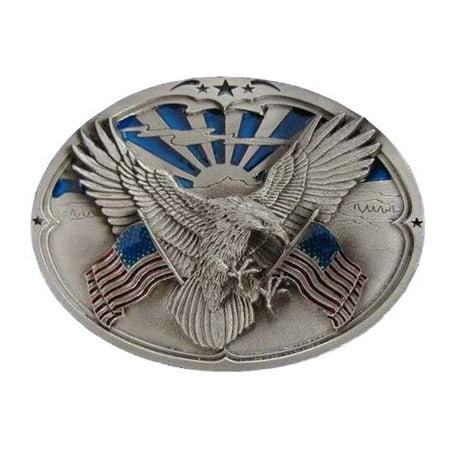 Eagle W/American Flags Novelty Belt Buckle ()