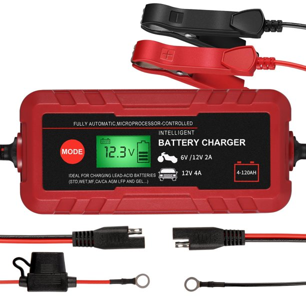 6V12V Battery ChargerMaintainer, 70W Automatic Smart Battery Charger Ideal for Charging LEAD ACID Batteries SUPPLY for Car, Truck, Motorcycle, Lawn