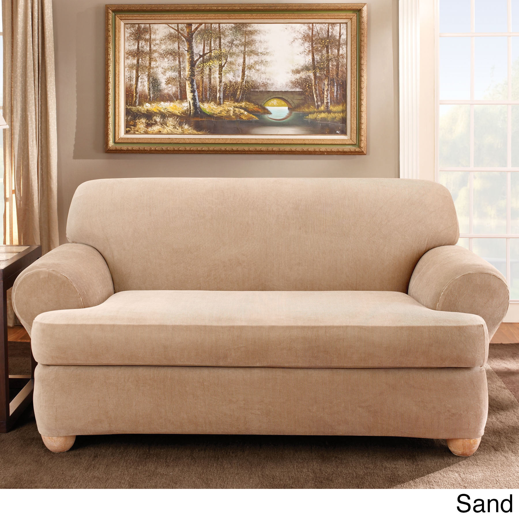 Sure Fit Stretch Stripe Separate Seat T Cushion Sofa Slipcover