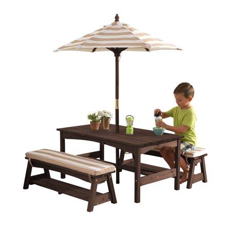 Enjoyable Kidkraft Outdoor Table Bench Set With Cushions Umbrella Ibusinesslaw Wood Chair Design Ideas Ibusinesslaworg