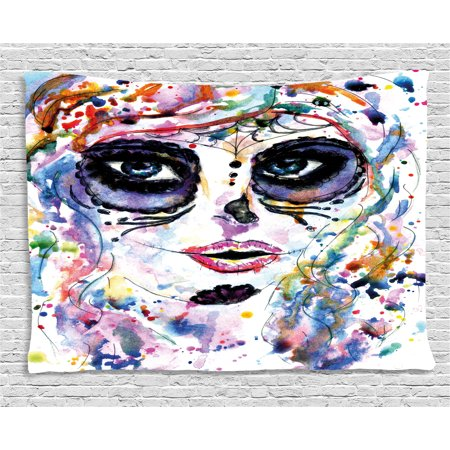 Sugar Skull Halloween Makeup For Men (Sugar Skull Decor Tapestry, Halloween Girl with Sugar Skull Makeup Watercolor Painting Style Creepy, Wall Hanging for Bedroom Living Room Dorm Decor, 60W X 40L Inches, Multicolor, by)