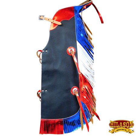 US FLAG HILASON WESTERN LEATHER KIDS JUNIOR YOUTH PRO RODEO BULL RIDING CHAPS