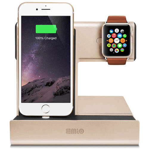 Emio 00264 Smart Watch Charge Dock for Apple Watch and iPhone, Gold