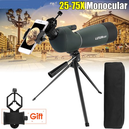 Day/Night Vision 25-75X70 Magnification Zoom HD Monocular Spotting Scope Waterproof BAK4 Eyepiece Astronomical Telescope with Tripod + Phone Adapter + Storage
