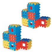 Little Tikes Big Waffle 18 Piece Kids Construction Building Block Set (2 Pack)