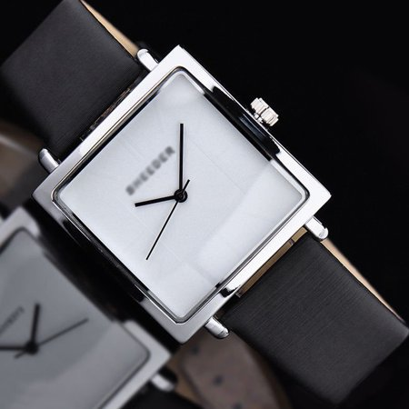 Woman Exquisite Retro Quartz Watch Simple Square Analog Wrist Watch Lady PU Leather Band Watches Black Leather Square Watch