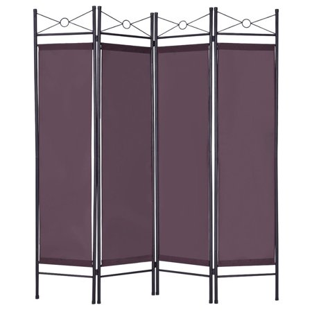 Costway Brown 4 Panel Room Divider Privacy Screen Home Office Fabric Metal Frame
