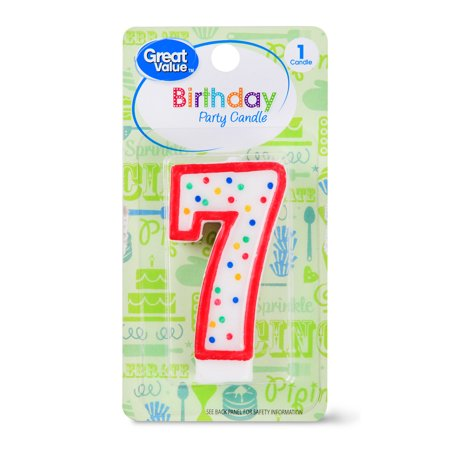 (5 Pack) Great Value Birthday Party Candle, Number 7 - Number 2 Candle