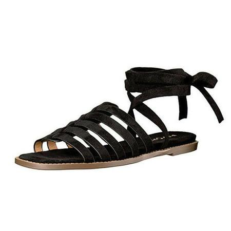 Report Womens Zella Flat Sandal Ankle Strap Black Size 9 M US